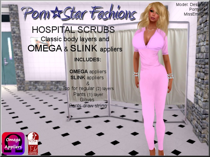 Porn*Star Fashions WOMENS PINK Hospital Scrubs with OMEGA & SLINK appliers