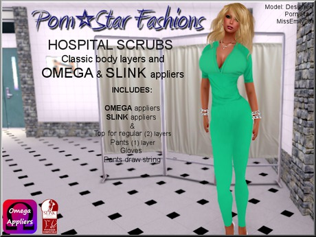 Porn*Star Fashions WOMENS GREEN Hospital Scrubs with OMEGA & SLINK appliers