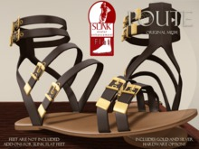 Poute- Roma Flat Sandals- Brown