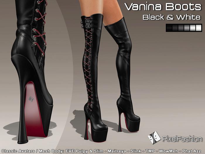 :)(: Vanina Platform Boots - Black & White -Classic Avatars / MESH BODY : EVE - Maitreya - Slink - TMP - WowMeh
