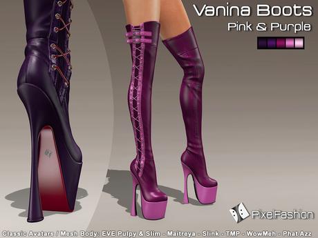 :)(: Vanina Platform Boots - Pink & Purple -Classic Avatars / MESH BODY : EVE - Maitreya - Slink - TMP - WowMeh
