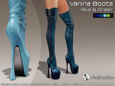 :)(: Vanina Platform Boots - Blue & Green -Classic Avatars / MESH BODY : EVE - Maitreya - Slink - TMP - WowMeh