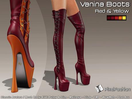 :)(: Vanina Platform Boots - Red & Yellow -Classic Avatars / MESH BODY : EVE - Maitreya - Slink - TMP - WowMeh