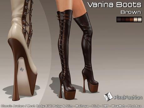 :)(: Vanina Platform Boots - Brown -Classic Avatars / MESH BODY : EVE - Maitreya - Slink - TMP - WowMeh
