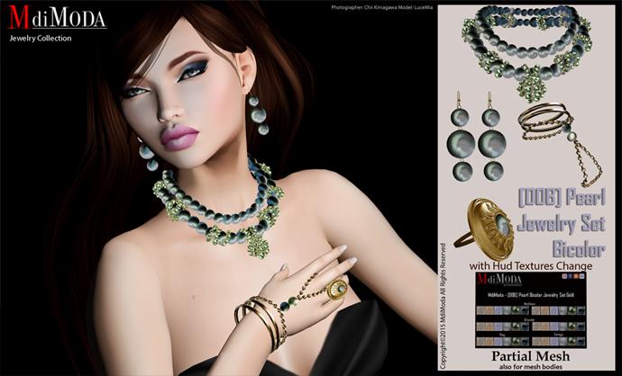 MdiModa - [00B] Pearl Bicolor Jewelry Set Gold