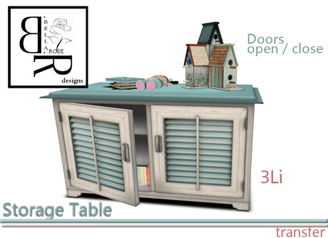 [BR] Teal Storage Table & Accessories