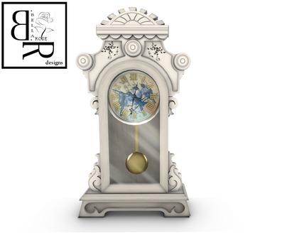 [BR] White Vintage Pendulum Clock