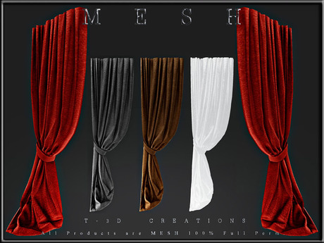 T-3D Creations [ Curtain Display 012 ]  Regular MESH - Full Perm -