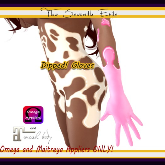 The Seventh Exile - Dipped! Gloves: Bubble Gum - Omega & Maitreya Appliers ONLY!