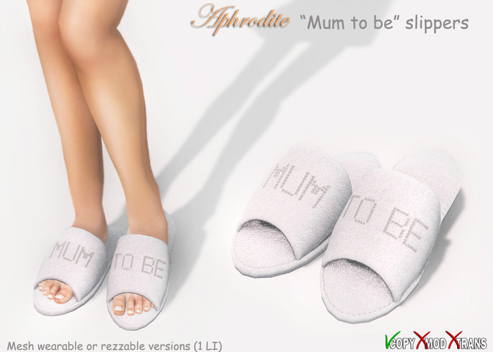 "Aphrodite ""Mum to be"" MESH slippers for pregnant mothers thata re expecting a baby!"