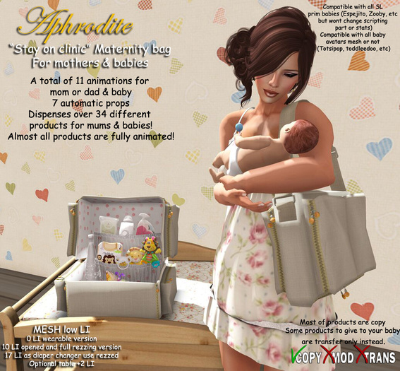 "Aphrodite ""Stay on clinic""Maternity baby bag for Moms & babies"