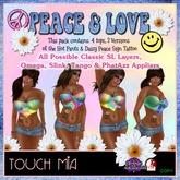 {TOUCH MIA} Peace & Love Tye Dye Tops, Shorts & Tattoo V5