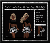Cele'Sations Black Top, Cow Print Skater Skirt & Shoes Outfit MESH