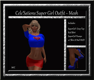 Cele'Sations Super Girl Tee, Skirt & Shoes Outfit MESH