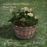 [CIRCA] - Country Bushel Planter - Brown Wood & Antique Roses