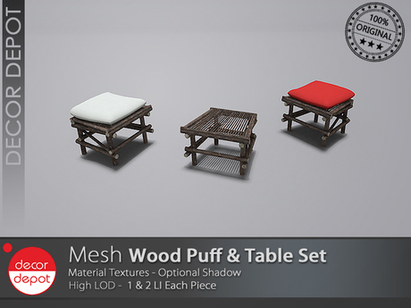 [DD] - FULL PERM  Wood Puff & Table Set