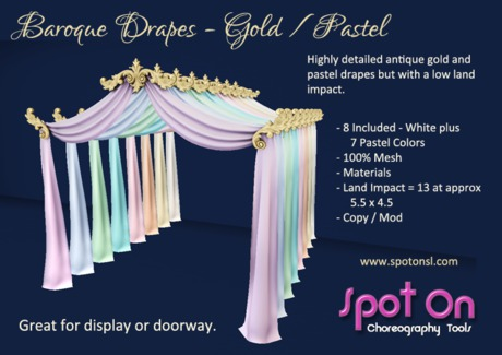Baroque Drapes - Gold / Pastels