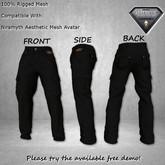 F.A.D Niramyth Aesthetic Fitted Mesh Cargo Pants - Black