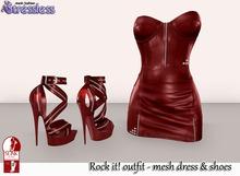 Stressless - Rock it! outfit Dark Red (Mesh leather dress + Slink High Heels)