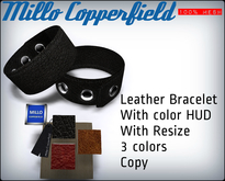 Millo Copperfield - Mesh Leather Bracelet with resize and Color HUD, Copy