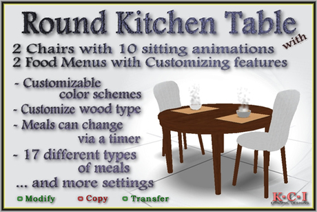 Second Life Marketplace Round Kitchen Table Set Kitchen Table 2 Chairs W 10 Animation Sitting Types 2 Food Menu