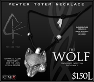 -Pewter Totem Necklace - WOLF - by Khyle Sion at ~Refined Wild~