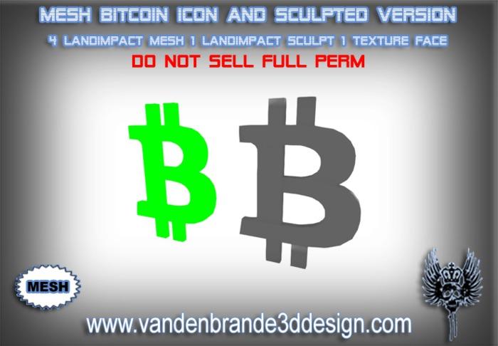 ~Full perm Bitcoin Icon MESH + Sculpted 1 LandImpact version