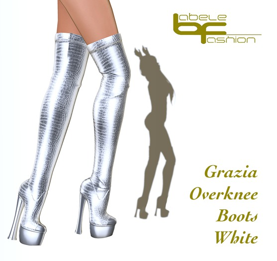 Babele Fashion :: Grazia Overknee Boots White
