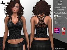 DE Designs -Beth Lace Tank - Black