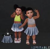 Admirable. Denim Skater Skirts (Dark)
