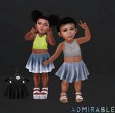Admirable. Denim Skater Skirts (Black)