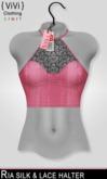 { ViVi } Ria - Silk & Lace Halter - Pink