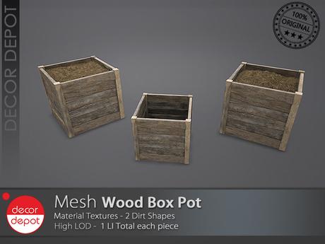[DD] - FULL PERM  Wood Planter Pot