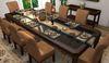 Dinner Party Dining Set for 8: Distressed Glass Top & Suede Mesh Dining Set