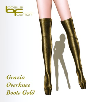 Babele Fashion :: Grazia Overknee Boots Gold
