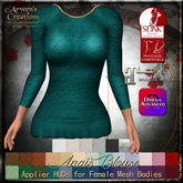 {AS} Anais Blouse Appliers & Classic System Layers: Slink, Maitreya, Omega; 31 Colors; BoM, Bakes on Mesh