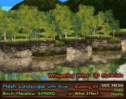 21strom: Birch Meadow SPRING Mesh Landscape with River, Cliffs, Wind Effect, Animated Water