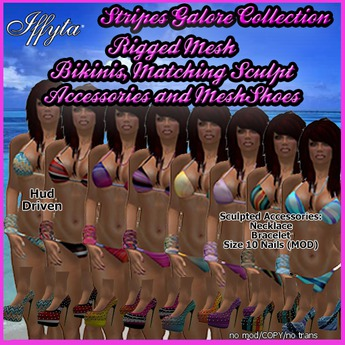 FREE PROMO - Iffyta Stripes Galore Bikini with Matching SHOES & ACCESSORIES