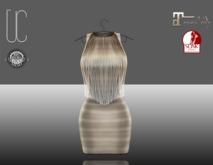 UC_Fringe_bandage_dress_beige_Slink_Maitreya_fitted