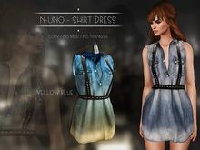 N-Uno - Shirt Dress - Denim Blue Yellow FREE GIFT