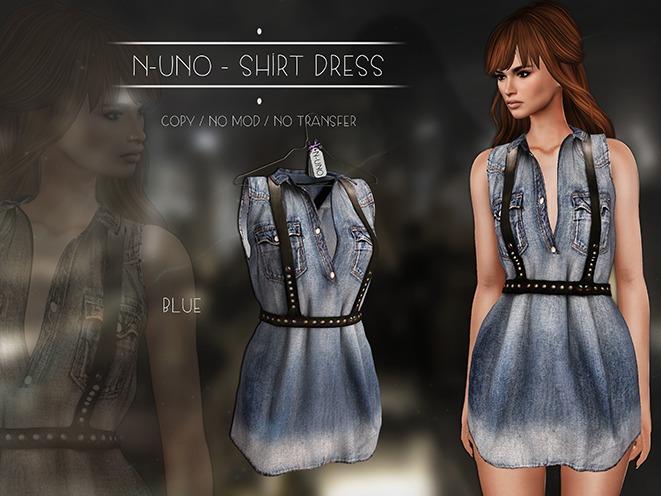 N-Uno - Shirt Dress - Denim Blue FREE GIFT