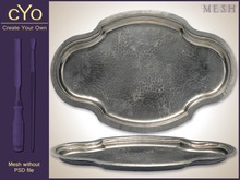 cYo Antique Silver Serving Platter   Tray, full perms mesh, materials and textures