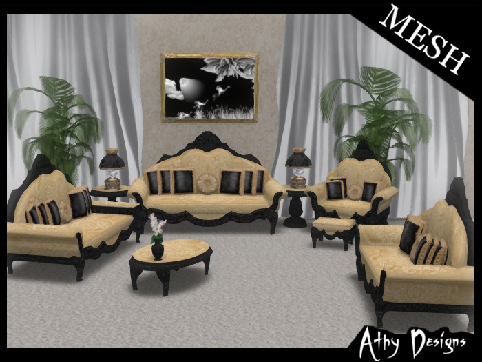 Second Life Marketplace Athy Designs Mesh Vintage Victorian Golden Living Room Furniture
