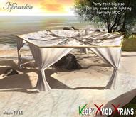 Aphrodite Beach wedding big party canopy tent