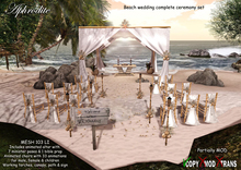Aphrodite Beach wedding complete ceremony set- With wedding chairs, tent, altar, wedding poses, minister poses, torches
