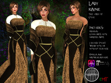 .:: VH ::. Lady Raine Mesh Medieval Dress with Appliers - Brown
