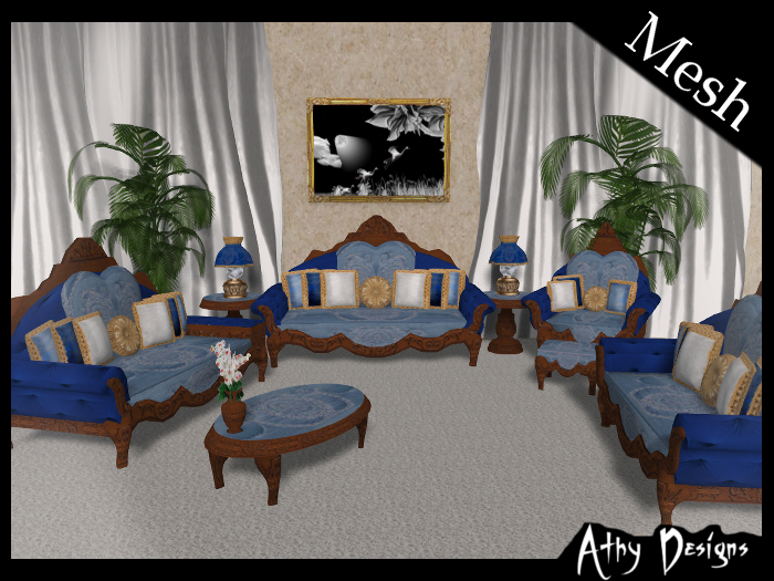Second Life Marketplace Mesh Vintage Victorian Sky Living Room Antique Baroque Gothic Furniture