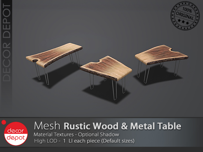 [DD] - FULL PERM  Rustic Wood & Metal Table Set
