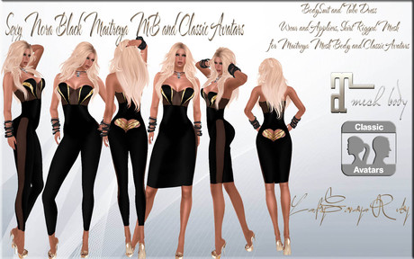 LSR - Sexy Nora Black Maitreya MB and Classic Avatars