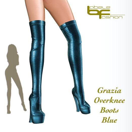 Babele Fashion :: Grazia Overknee Boots Blue